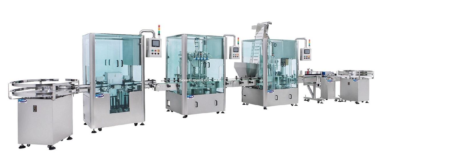 新碩達 整廠產線規劃 洗瓶機、充填機、鎖蓋機、貼標機