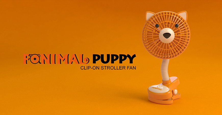 Fanimal (Puppy) Clip-on Stroller Fan USB/Battery Powered TC-036DG