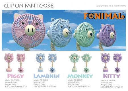 Fanimal clip-on stroller fan - Piggy, Lambkin, Monkey, Kitty