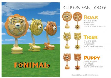 Fanimal clip-on stroller fan - Roar, Tiger, Puppy