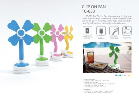 Gooseneck Soft Blade Clip Fan USB/Battery Powered TC-033