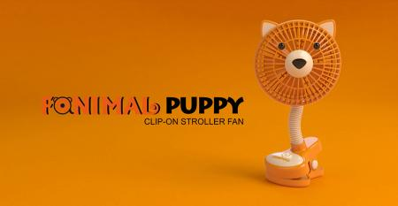 Fanimal (Puppy) Clip-on Stroller Fan USB/Battery Powered - Fanimal (Puppy) Clip-on Stroller Fan USB/Battery Powered TC-036DG