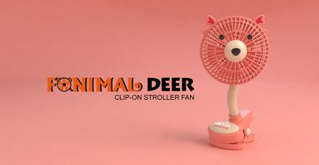 Fanimal (Deer) Clip-on Stroller Fan USB/Battery Powered - Fanimal (Deer) Clip-on Stroller Fan USB/Battery Powered TC-036DR