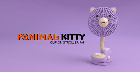 Fanimal (Kitty) Clip-on Stroller Fan USB/Battery Powered - Fanimal (Kitty) Clip-on Stroller Fan USB/Battery Powered TC-036KY