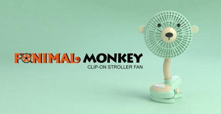 Fanimal (Monkey) Clip-on Stroller Fan USB/Battery Powered - Fanimal (Monkey) Clip-on Stroller Fan USB/Battery Powered TC-036MY