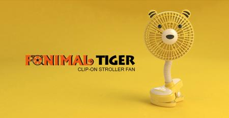 Fanimal (Tiger) Clip-on Stroller Fan USB/Battery Powered - Fanimal (Tiger) Clip-on Stroller Fan USB/Battery Powered TC-036TR