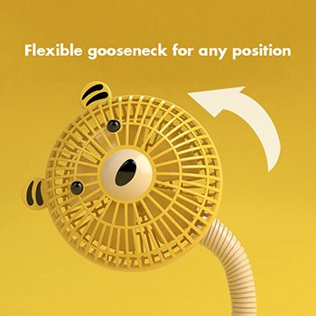 Flexible gooseneck and enclosed case of the fan