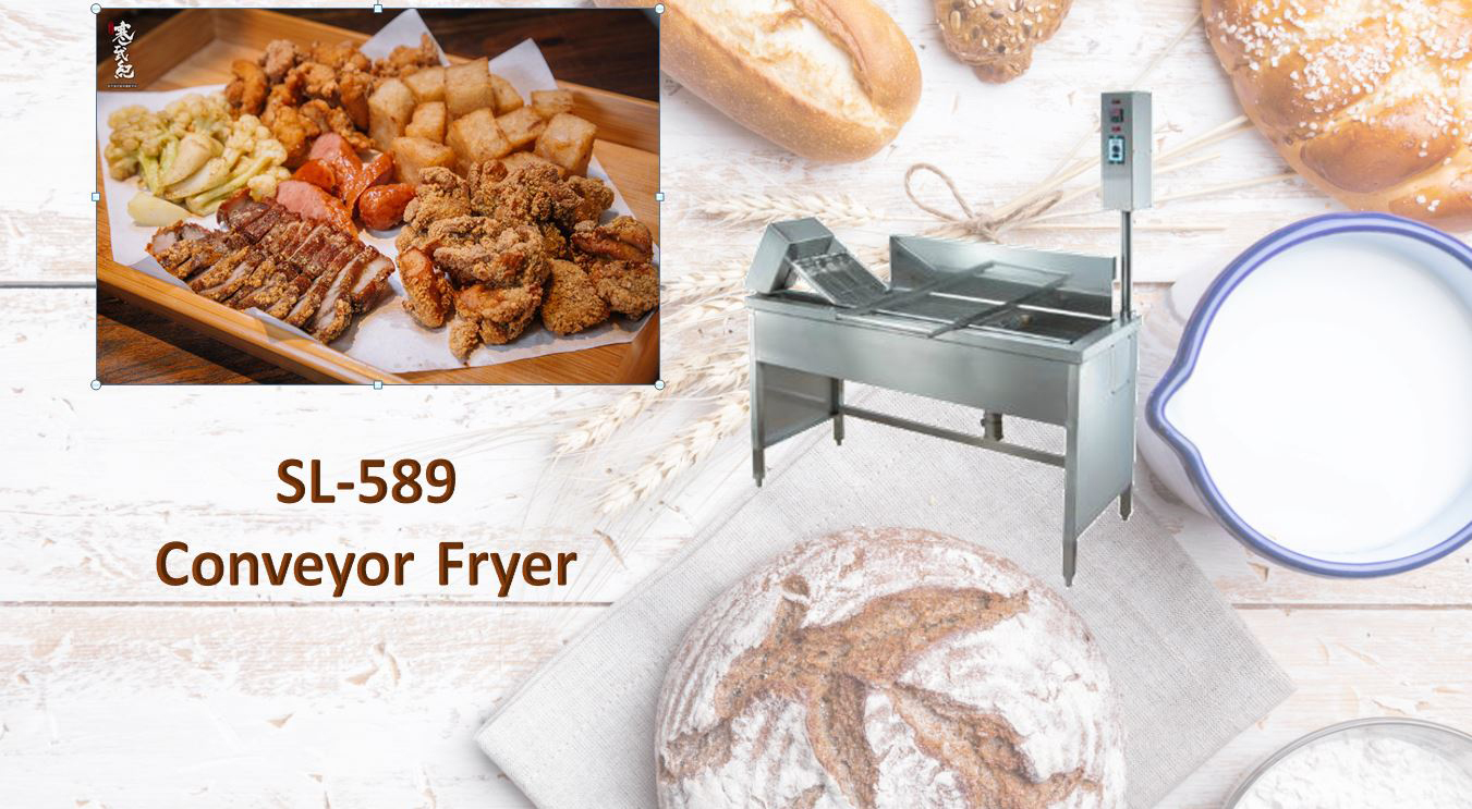 Frying products automatically, time-saving and labor-saving conveyor fryer
