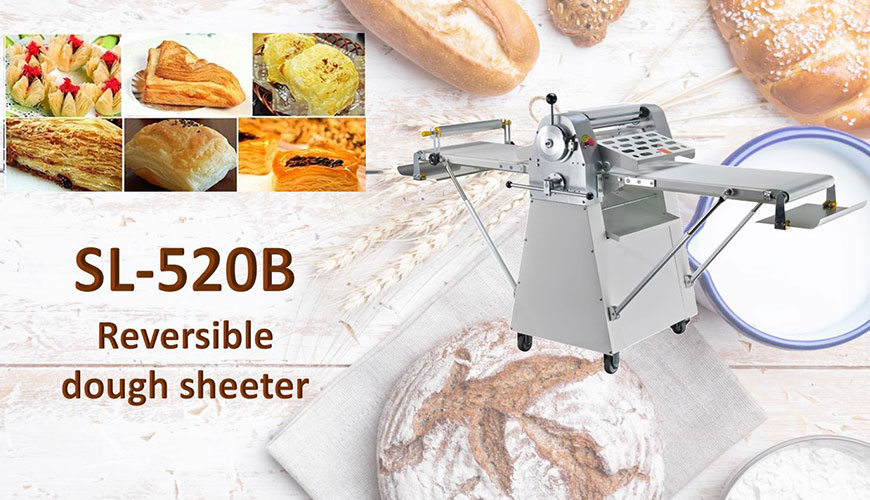 Reversible floor type dough sheeter is used for consistent flattening dough.