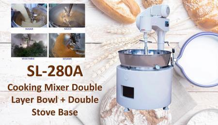 Miscelatore Cucina Ciotola Doppio Strato + Base Doppio Fornello - Per mescolare o cucinare prodotti come mongo, marmellata, ingredienti, salse, pasti.