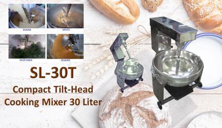 Miscelatore da cucina compatto con testa inclinabile 30 litri - Per mescolare o cucinare prodotti come mongo, marmellata, ingredienti, salse, pasti.