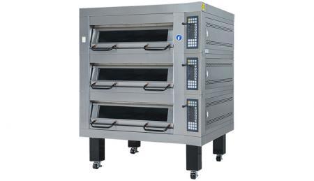 Forno elettrico a piani Serie a tre teglie - Utilizzato per la cottura di pane, biscotti e torte con controllo automatico della temperatura.