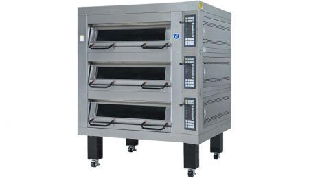 Serie di tre vassoi del forno a piani a GAS - Utilizzato per la cottura al forno, pane, biscotti e torte con controllo automatico della temperatura.