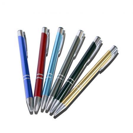 アルミポール付きカラフルなボールペン