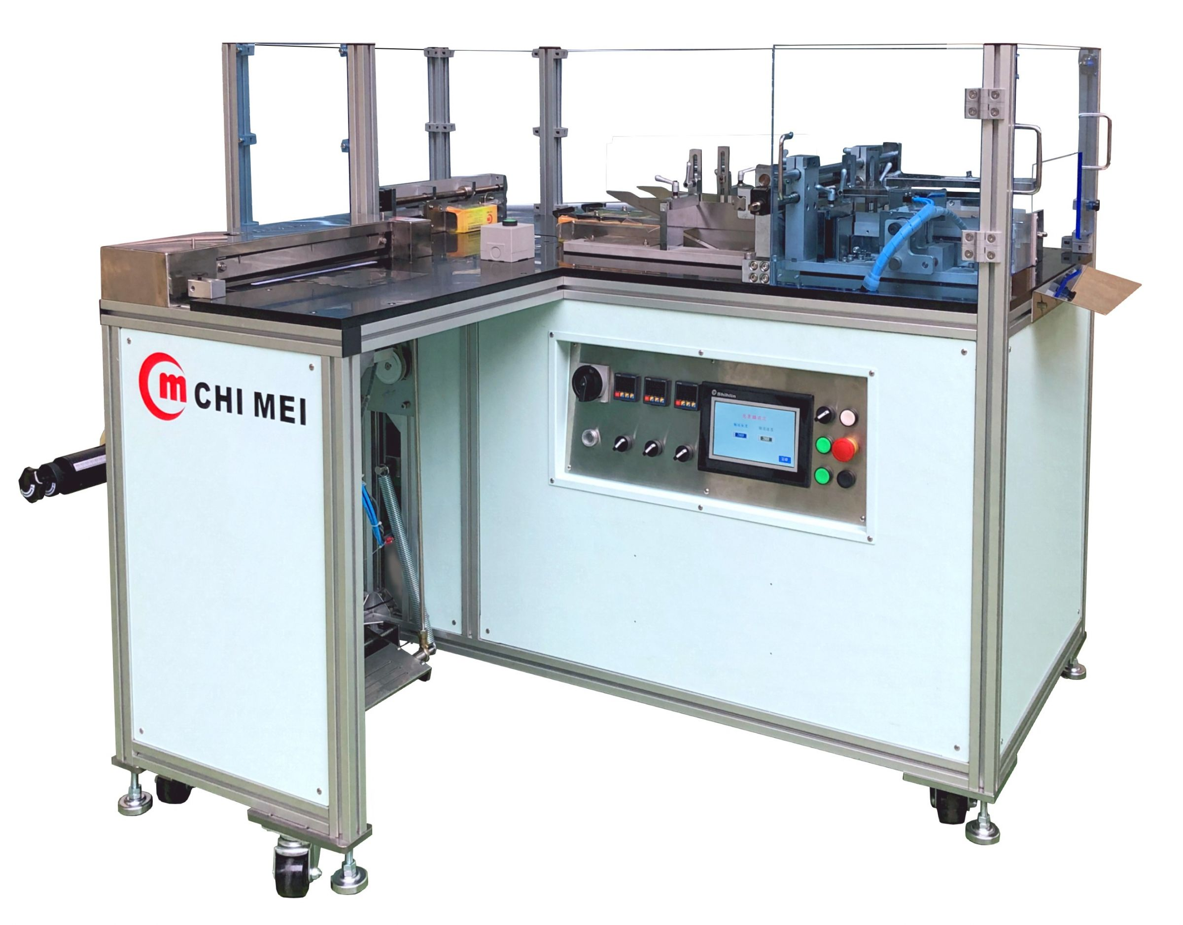 "Semi -Auto Overwrapping Machine - It is suitable for perfume box packing, and installed with ""Quicker size changeover system"", you can pack different size of perfume boxes by same one machine. Semi-automatic over wrapping machine、overwrapping machine、cellophane machine、cigarette packing machine、Tobacco packing machine、box packing machine、perfume box packing machine、shrink packing machine."
