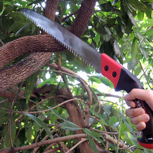 Sierra de mano de poda de árbol de hoja curva y recta
