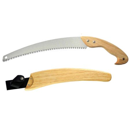 13inch (330mm) Curved Pruning Saw with Wooden Sheath - Curved blade pruning handsaw with wooden sheath