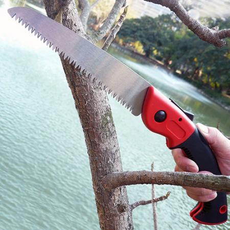 Sierra de jardín plegable - Sierra de mano plegable para cortar madera seca y verde