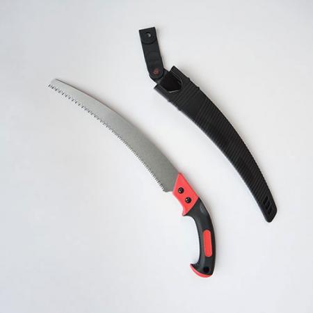 Sierra de poda curva de 13 pulgadas (330 mm) con una vaina de plástico - Sierra de podar curva Soteck con funda de plástico para cortar madera