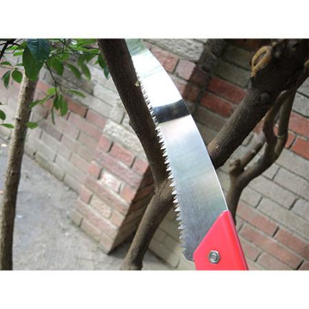 Soteck curved blade pole saw for cutting branches, made in Taiwan.