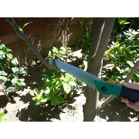 Soteck straight blade folding saw for pruning trees.