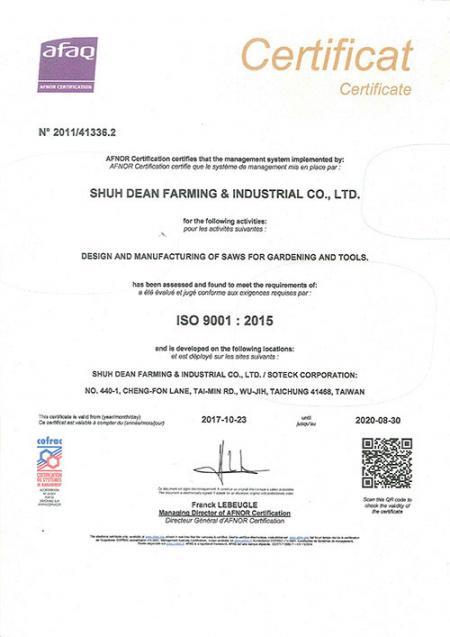 ISO 9001-certifikat 2017-2020