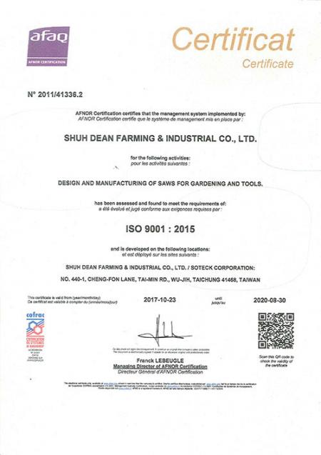 ISO 9001 Certificate 2017-2020