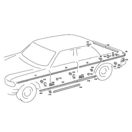 Rear Right Door Side Moulding for Mercedes Benz E-Class W123 1975-86 - Front Right Door Side Moulding for Mercedes Benz E-Class W123 1975-86
