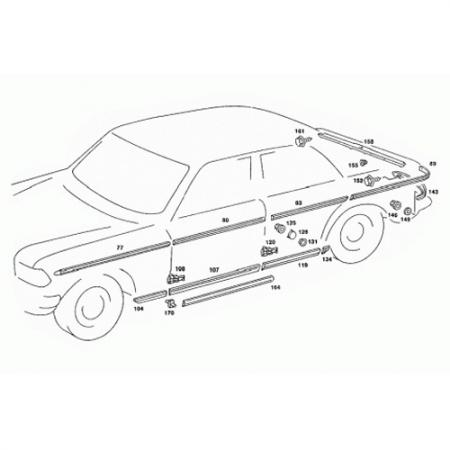 Front Left Door Side Moulding for E-Class W123 1975-86 - Front Left Door Side Moulding for E-Class W123 1975-86