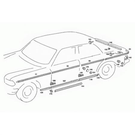 Rear Right Door Side Moulding for E-Class W123 1975-86 - Front Right Door Side Moulding for E-Class W123 1975-86