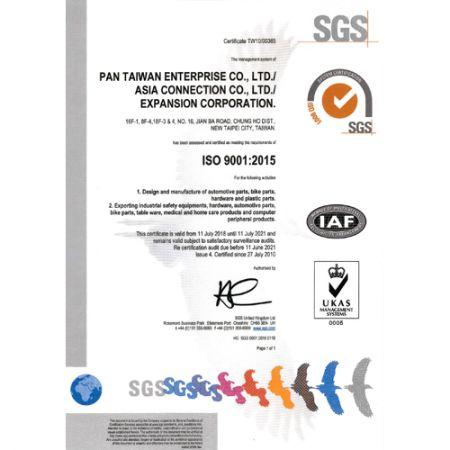 ISO9001-certifikat utgiven av SGS