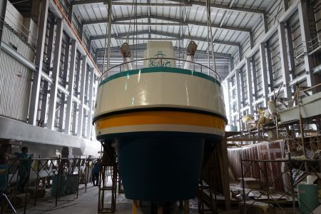 19GT FRP Undersea Sightseeing Passenger Ship Launch of the new ship(1)
