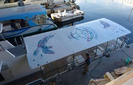 Estilo pintado do teto do navio de passageiros de turismo submarino 19GT FRP