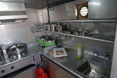 140 GT Tuna Long Liner Boat kitchen