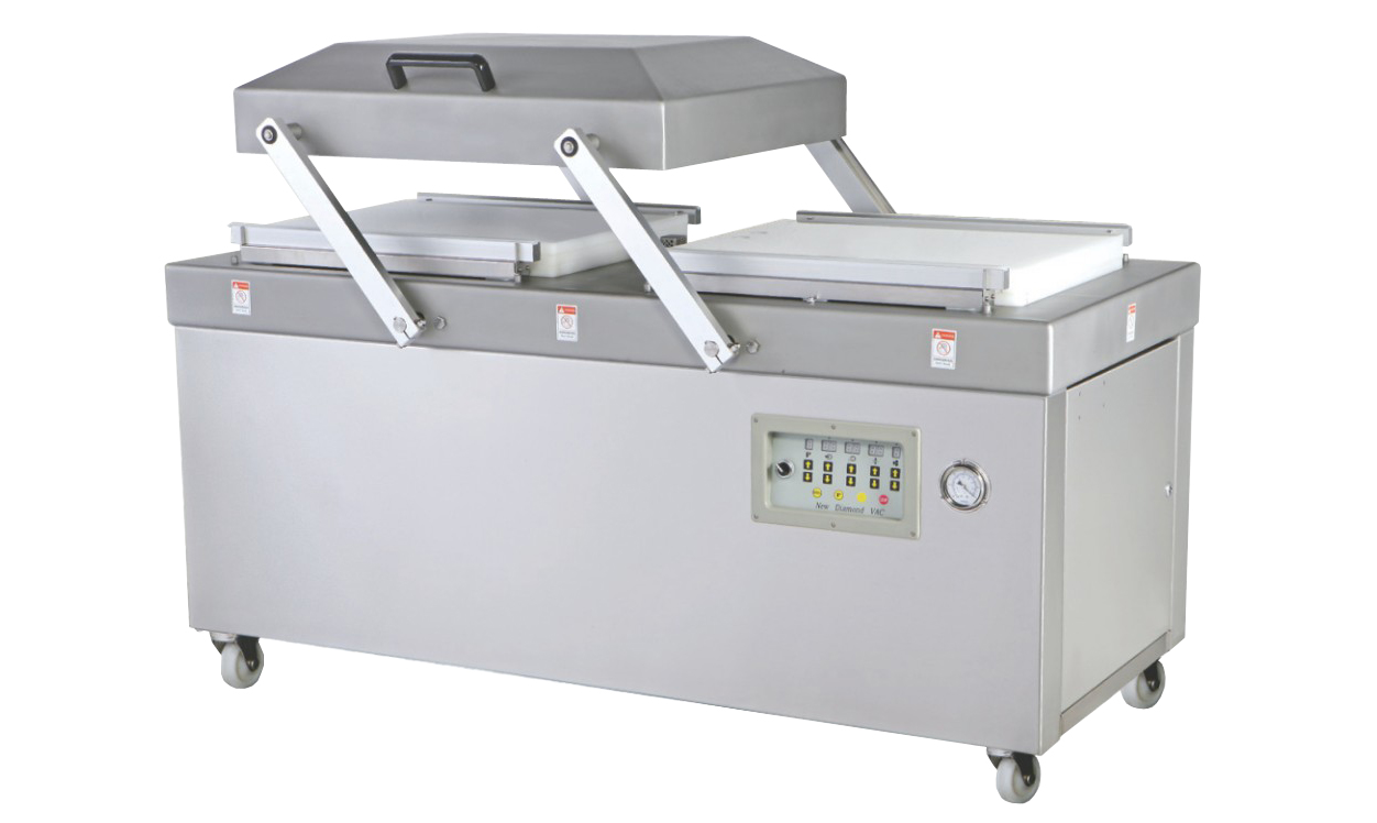 Полуавтоматическая двухкамерная вакуумная упаковочная машина для тяжелых условий эксплуатации