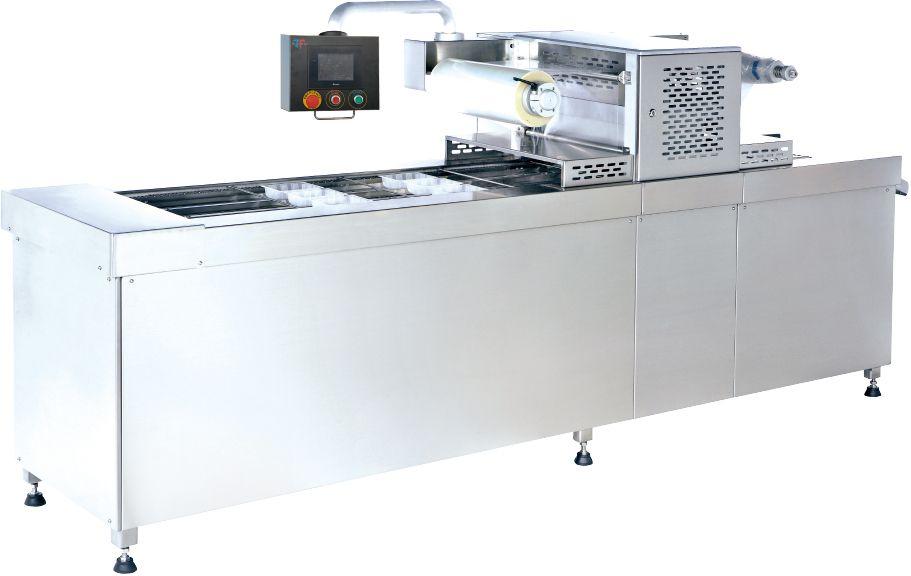 Seladora de bandeja automática com vácuo e lavagem a gás / embalagem de pele
