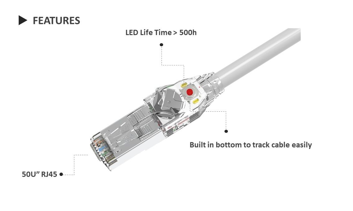 Traceable Patch Cord LED flashing powered by battery to identify the other end of the cable.