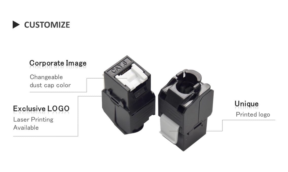 C6 UTP Tool less keystone ethernet with shutter Customization services