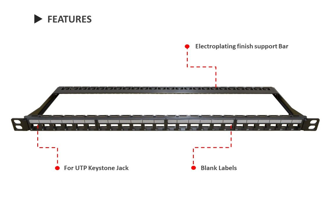 0.5U 24 port high-density keystone panel is made of SPCC material and available to snap in keystone jacks.