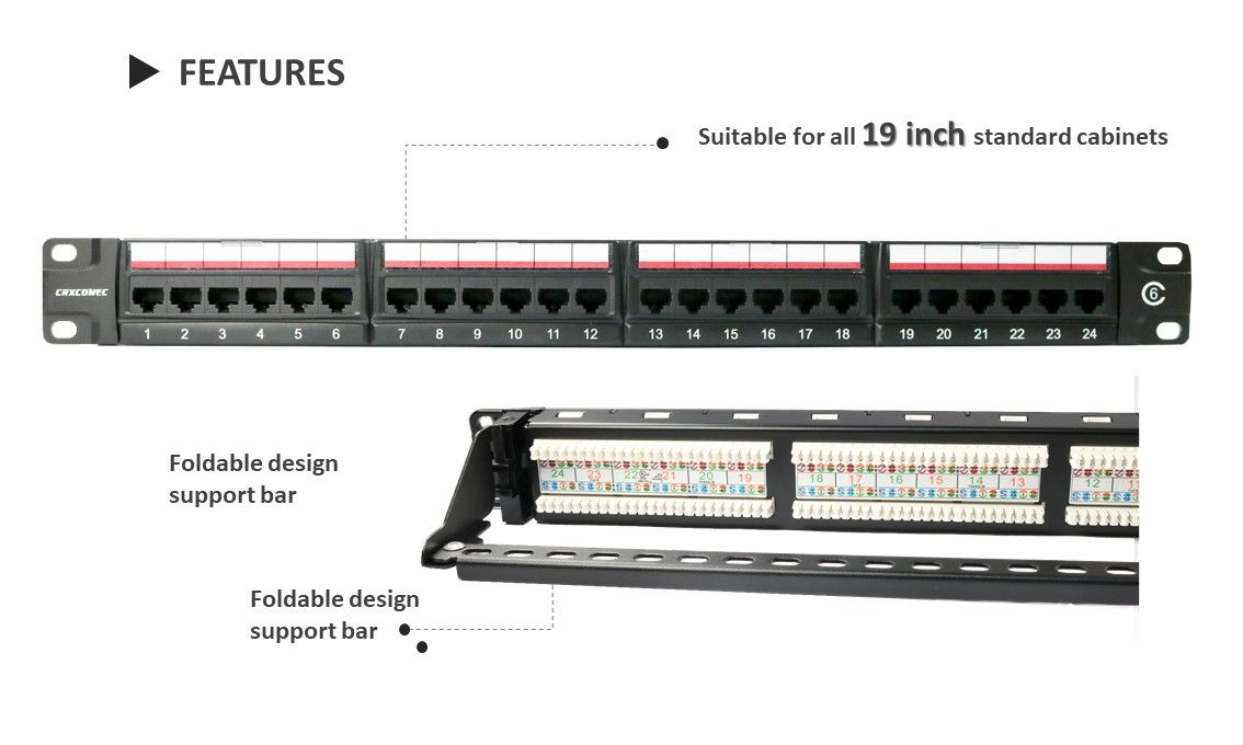 Cat.6 1U 24 Port 180 degree, with support bar
