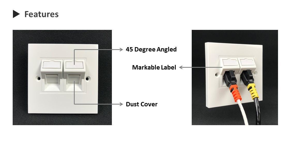 45 degree downward angled 6C module with dust cover and markable label for identification
