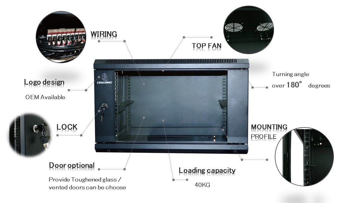 9U wall mount cabinet with patch panel keystone jack