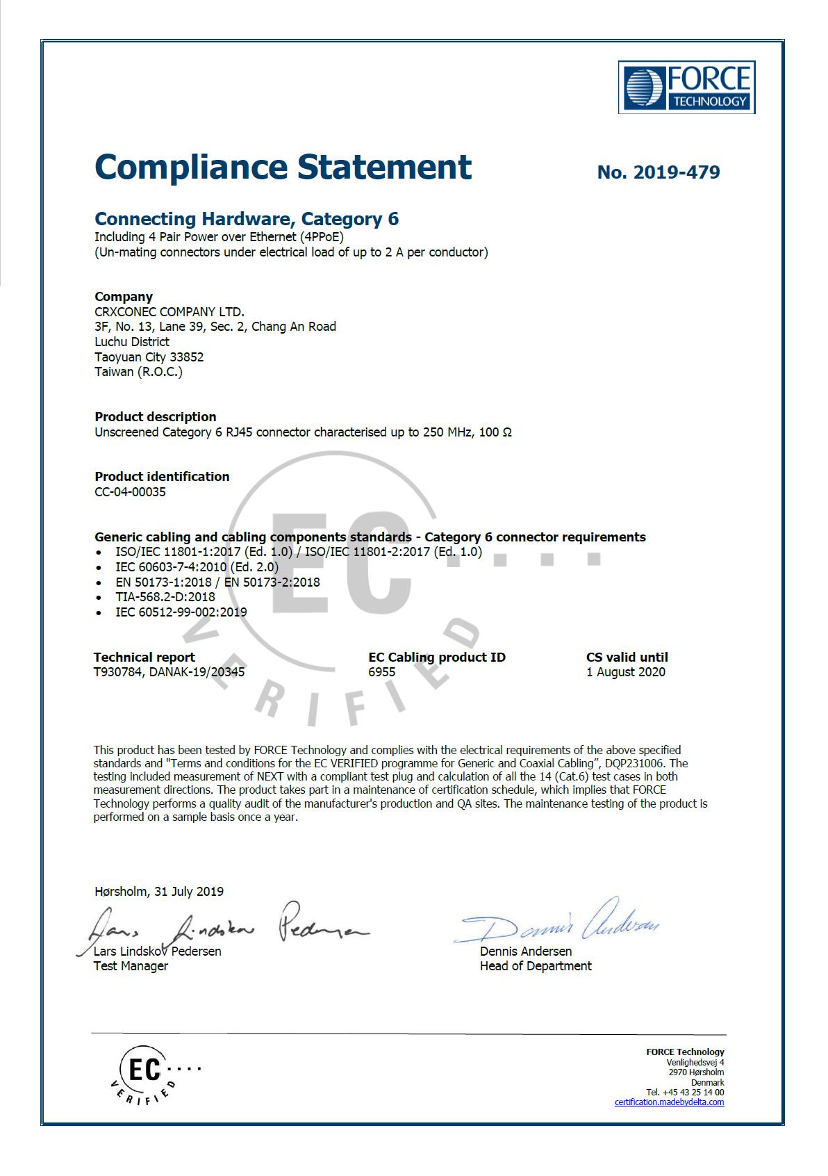 Delta Verified Cat.6 180 degree Keystone Jack Certification