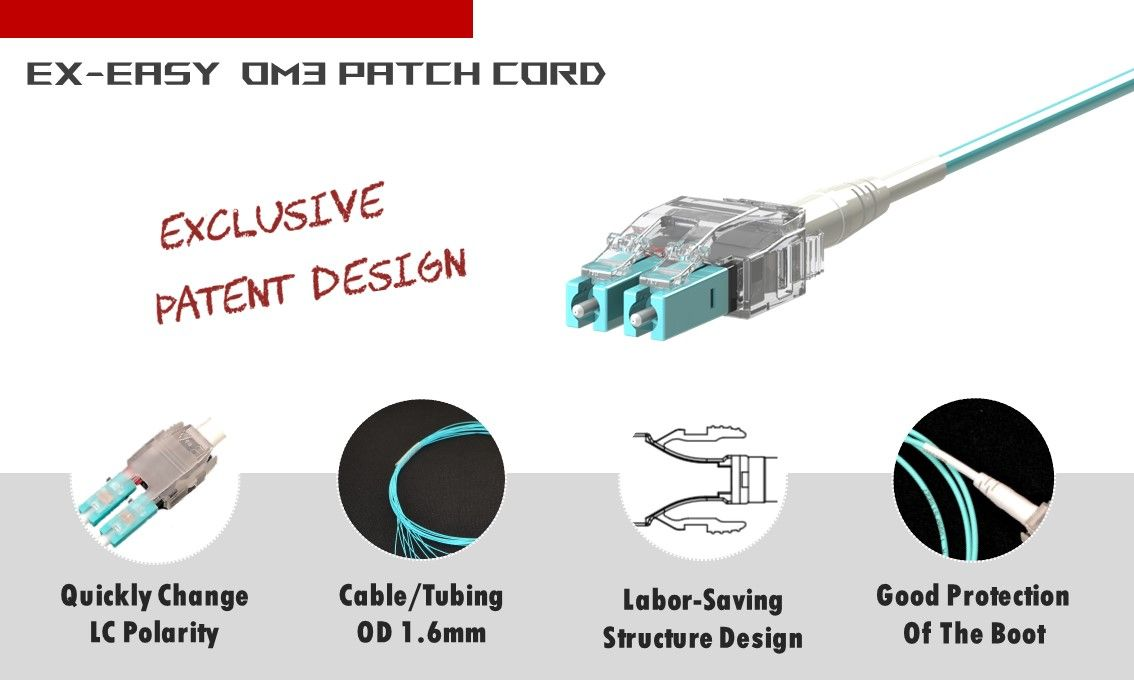 Easy-Ex Multimode OM3 LC-LC Duplex Fiber Patch Cord only need 3 seconds to change polarity. It won't harm patch cord and increase durability.