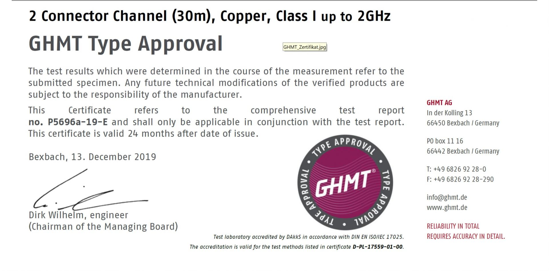 GHMT Verified Cat.8 Copper System Certification