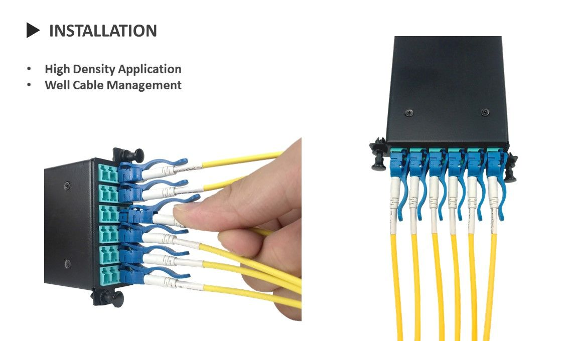 Single Mode LC Duplex Fiber Optic Patch Cord use in high density patch panel with easy installation.
