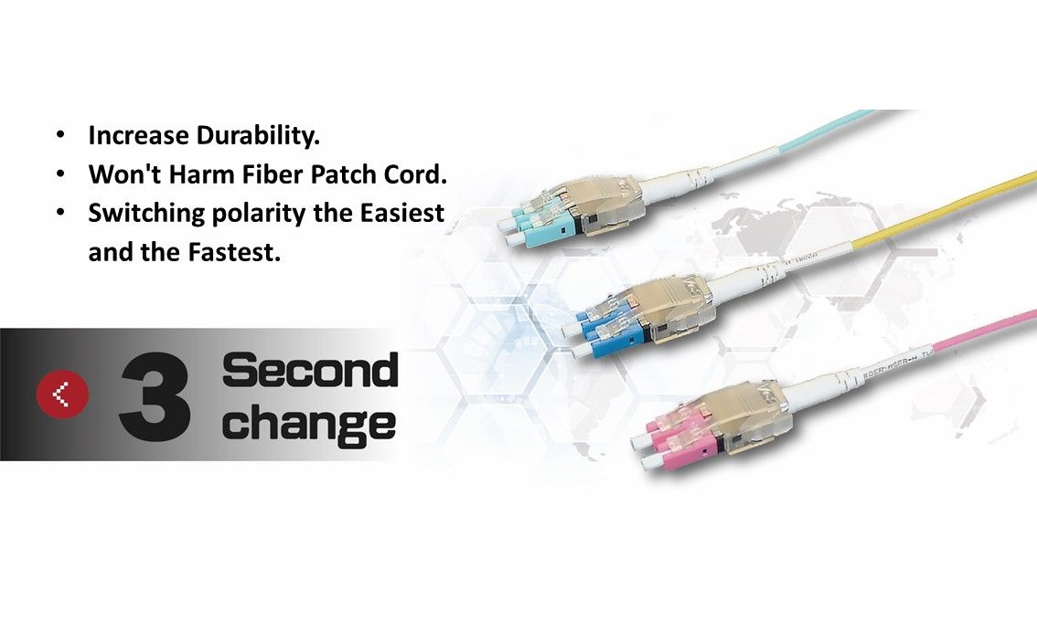 Easy-Ex Multimode LC-LC Duplex Fiber Patch Cord has an exclusive patent design for quickly change LC polarity and also labour-saving structure design.