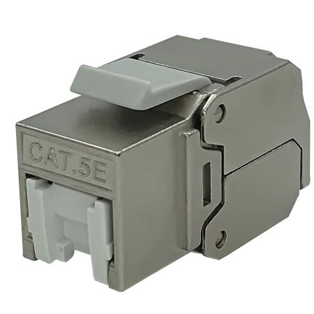 Cat.5E 180° STP Tool-less Type Keystone Jack with  White Shutter - Category 5E 180 degree STP Die-Casting Keystone Jack