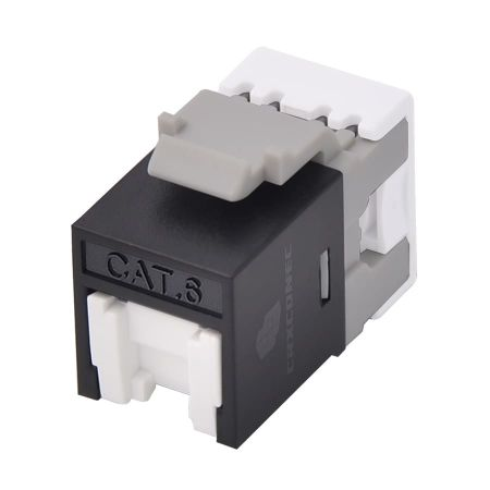 PoE++ Cat6 UTP 180 degree Keystone Jack with shutter - category 6 unscreened punch down keystone jack