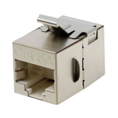 Cat6A STP 180 degree Feed Through Coupler - STP 180° C6A RJ45 In-line Coupler